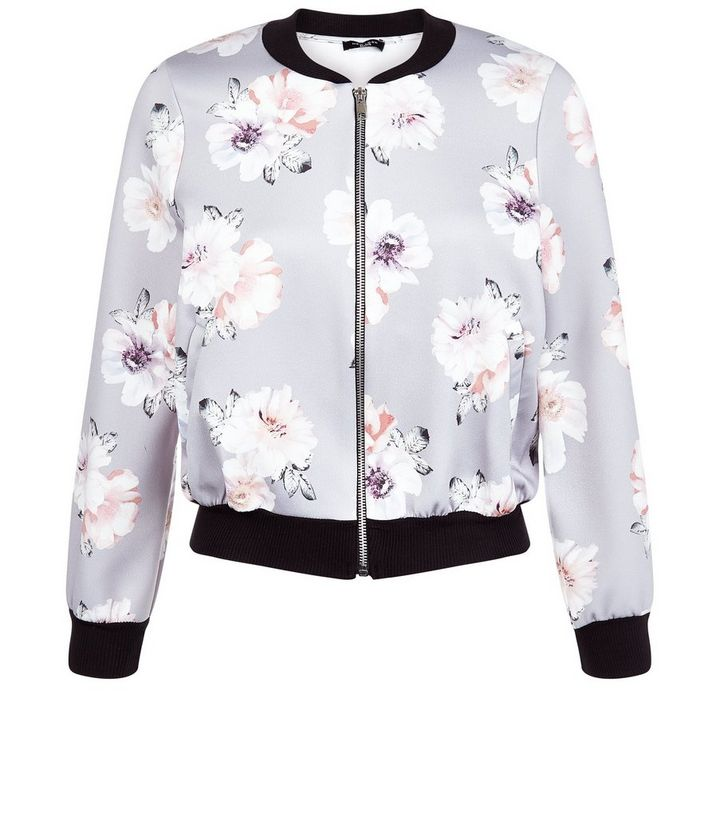 a1306f3ec Petite Grey Floral Print Bomber Jacket Add to Saved Items Remove from Saved  Items