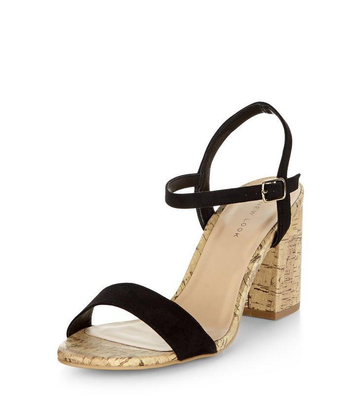 4b6a23c60f56 Black Suedette Contrast Cork Heeled Sandals