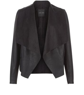 Black Leather Look Suedette Panel Waterfall Jacket New Look