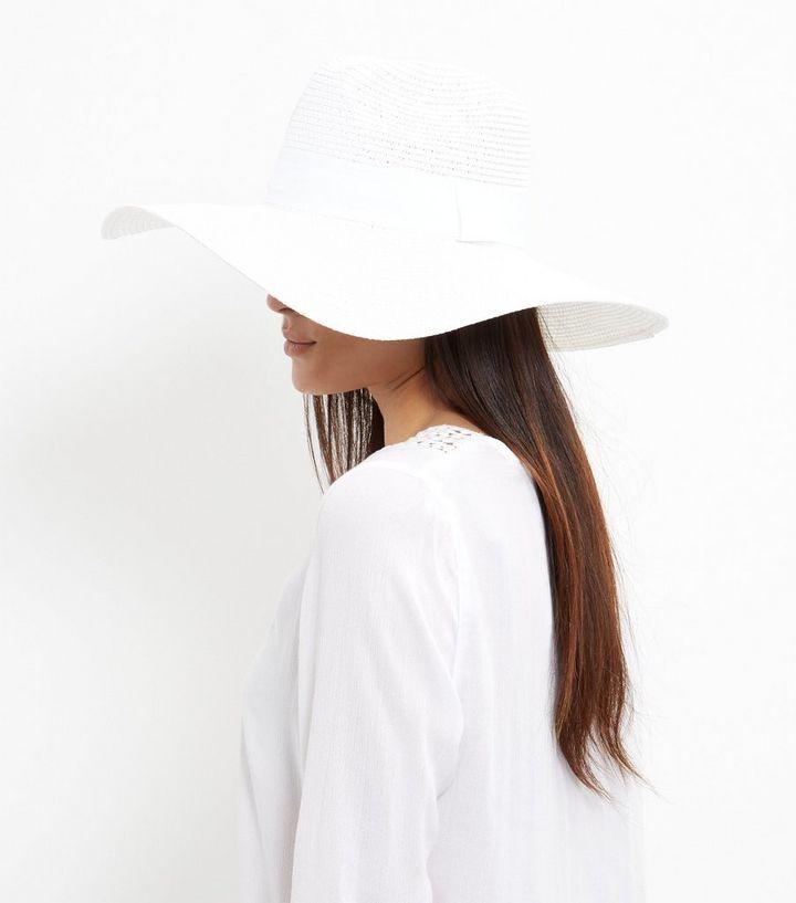 f60a8b26fdc White Textured Floppy Hat