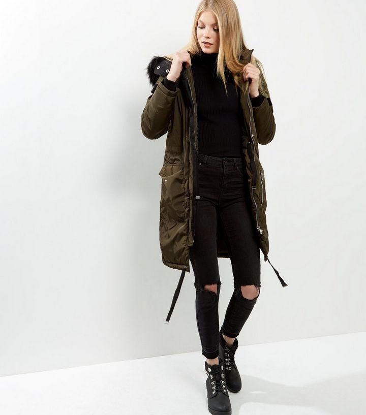 e997913781 ... Womens Coats · Brave Soul Khaki Faux Fur Trim Hooded Parka. ×. ×. ×.  Shop the look