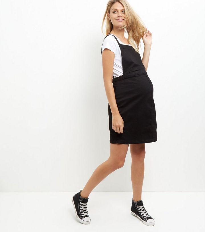 dd71b3a489f03 Maternity Black Denim Pinafore Dress   New Look