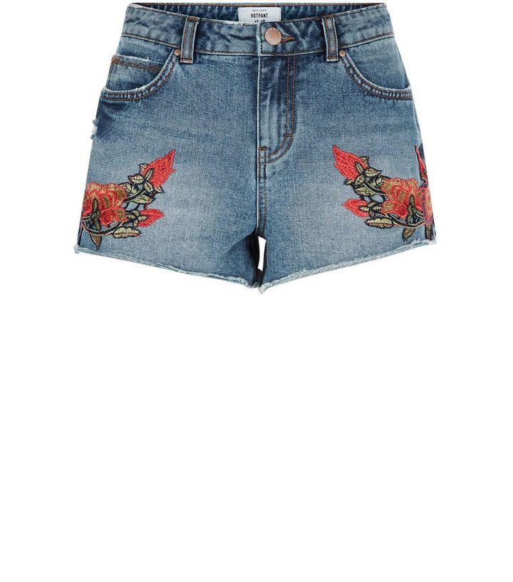 b53701e6de Blue Floral Embroidered Denim Shorts | New Look