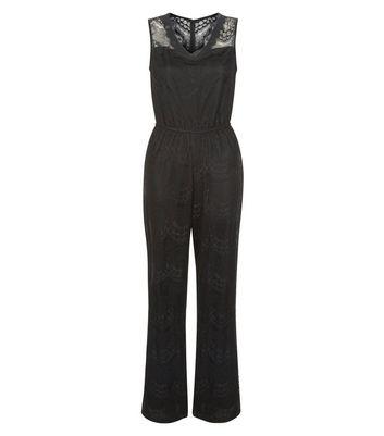 Mela Black Lace Panel Wide Leg Jumpsuit New Look