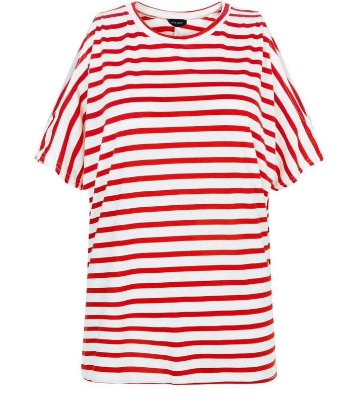a79e958e2e294 White Stripe Cold Shoulder Oversized T-Shirt