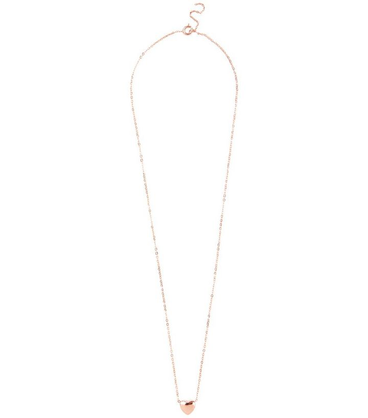 Rose Gold Plated Heart Pendant Necklace New Look