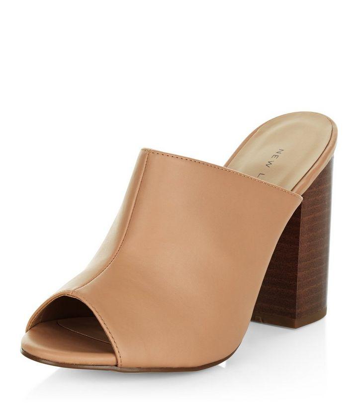 76ad04b6ed11a Nude Peep Toe Block Heel Mules