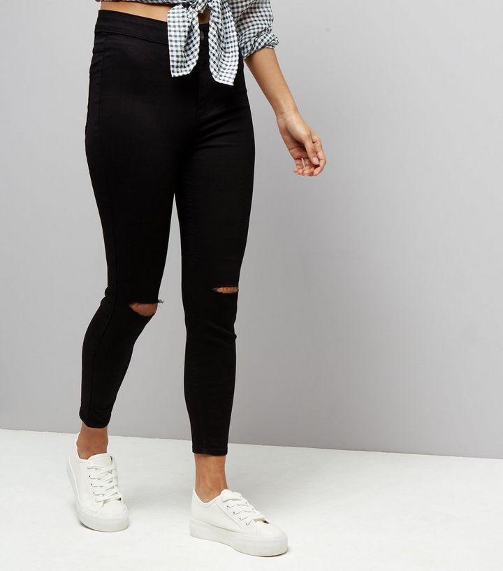 ea5ea97af Petite Black 26in Ripped High Waist Super Skinny Jeans
