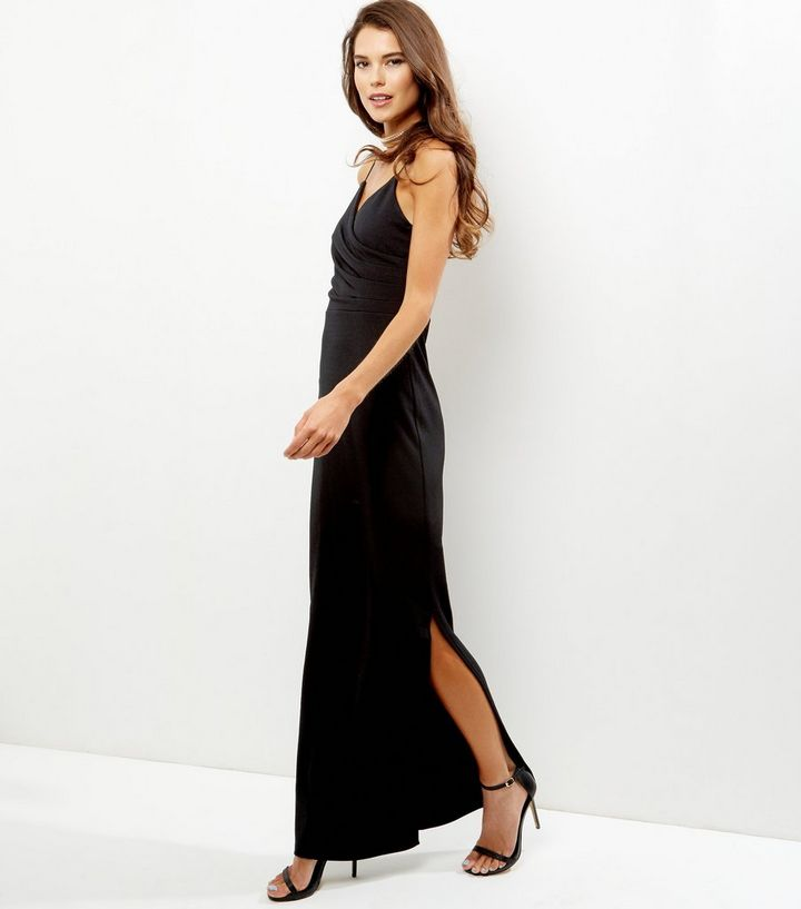 new product the sale of shoes cheap for sale Black Wrap Front Side Split Maxi Dress Add to Saved Items Remove from Saved  Items
