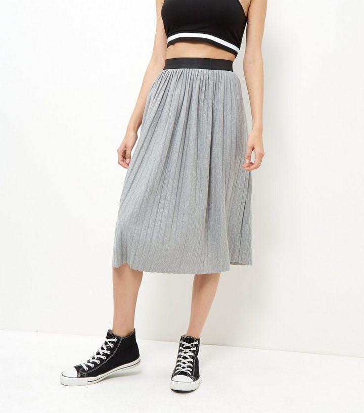 52595edb0 Grey Pleated Midi Skirt | New Look