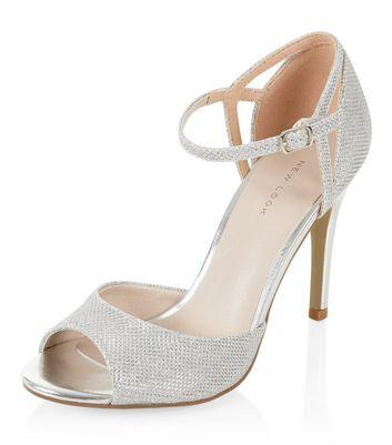 Silver Glitter Ankle Strap Peep Toe