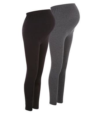Maternity 2 Pack Grey and Black Leggings New Look