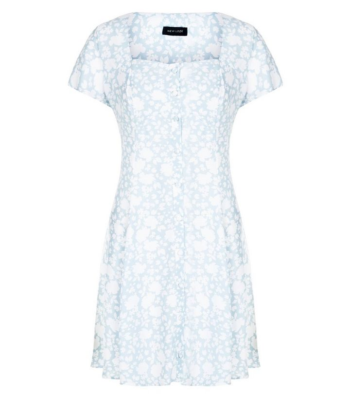 85401da52b Light Blue Floral Print Button Front Skater Dress