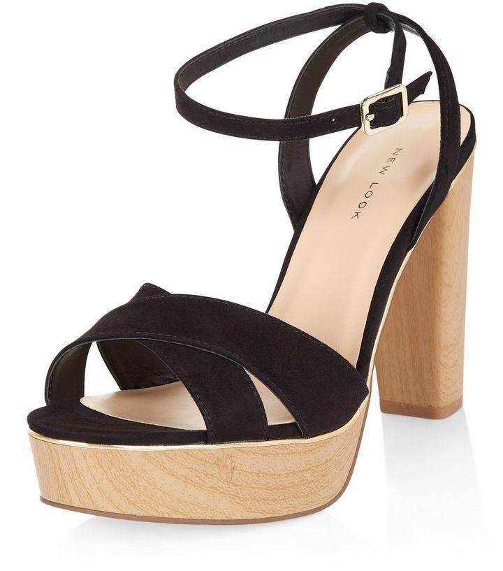 35f2c6fcf2 Black Suedette Metal Trim Platform Heeled Sandals | New Look