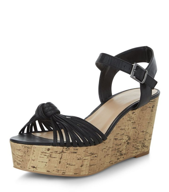 ceb96ac64e306 Black Strappy Knotted Flatform Sandals   New Look