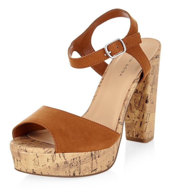 0ace1d1cd Tan Ankle Strap Contrast Cork Platform Heels | New Look