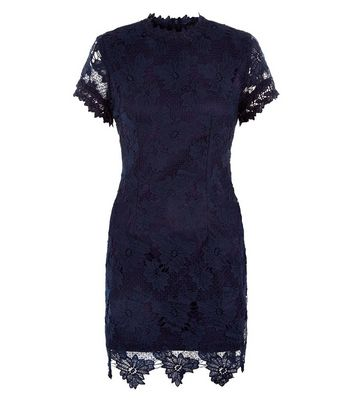 AX Paris Navy Lace High Neck Dress New Look