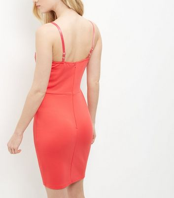 AX Paris Coral Lace Panel Strappy Dress New Look