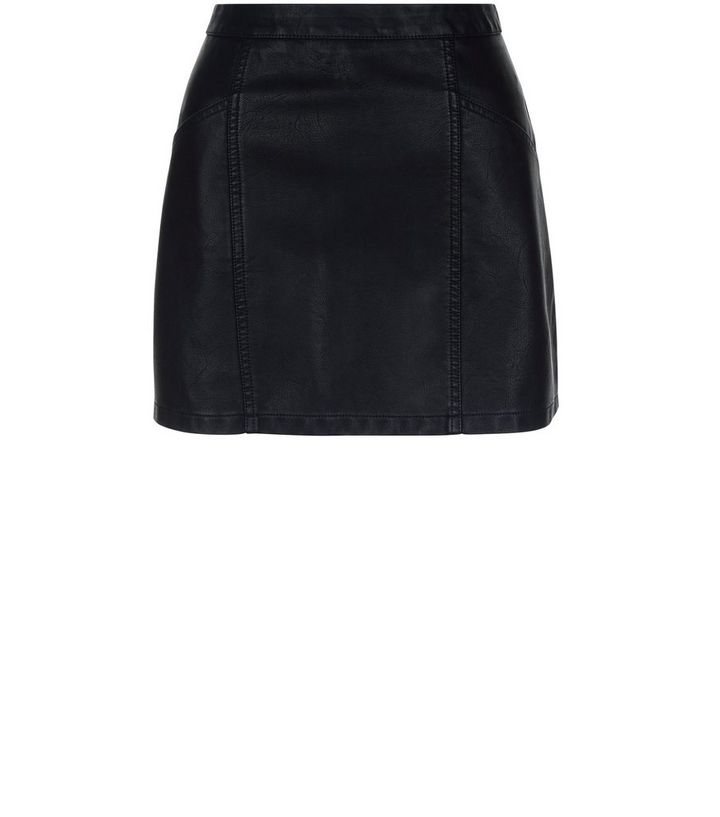 ca3e04284 Petite Black Leather-Look Skirt | New Look
