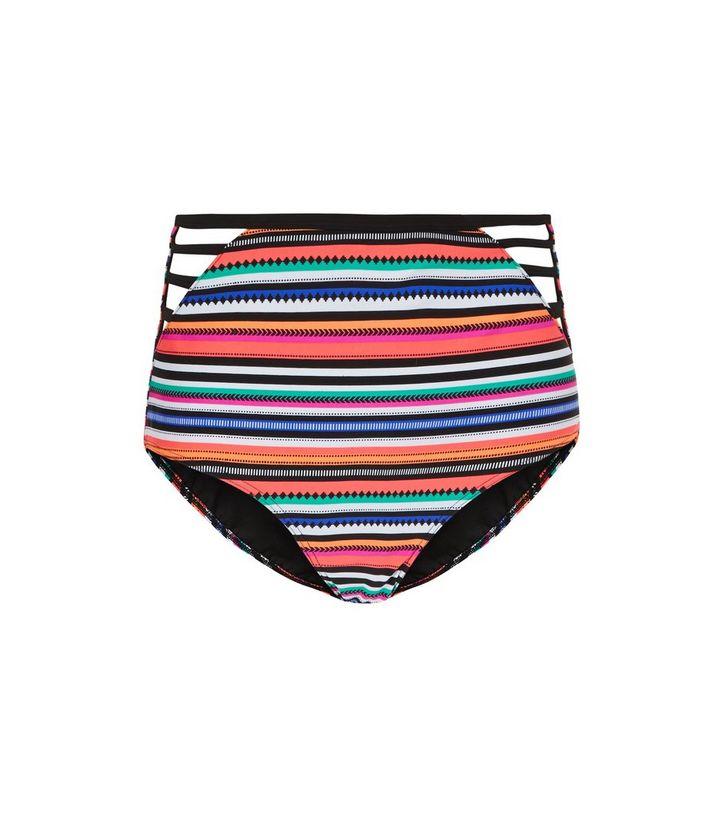 256647219d2b3 Multicoloured Stripe High Waist Bikini Bottoms | New Look