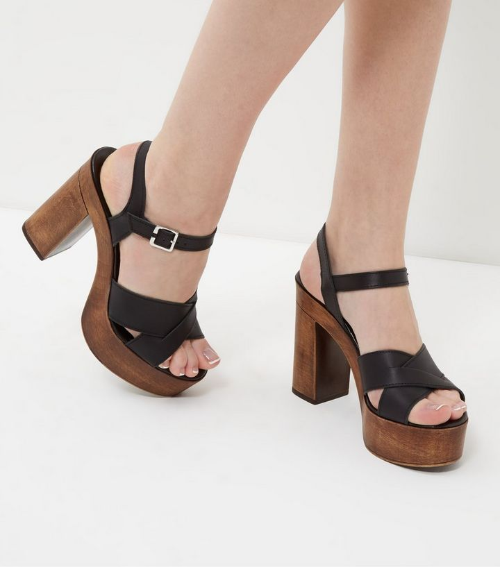 1471149512f Black Leather Cross Strap Wooden Platform Heels Add to Saved Items Remove  from Saved Items
