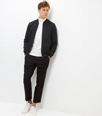 Black Tailored Bomber Jacket New Look