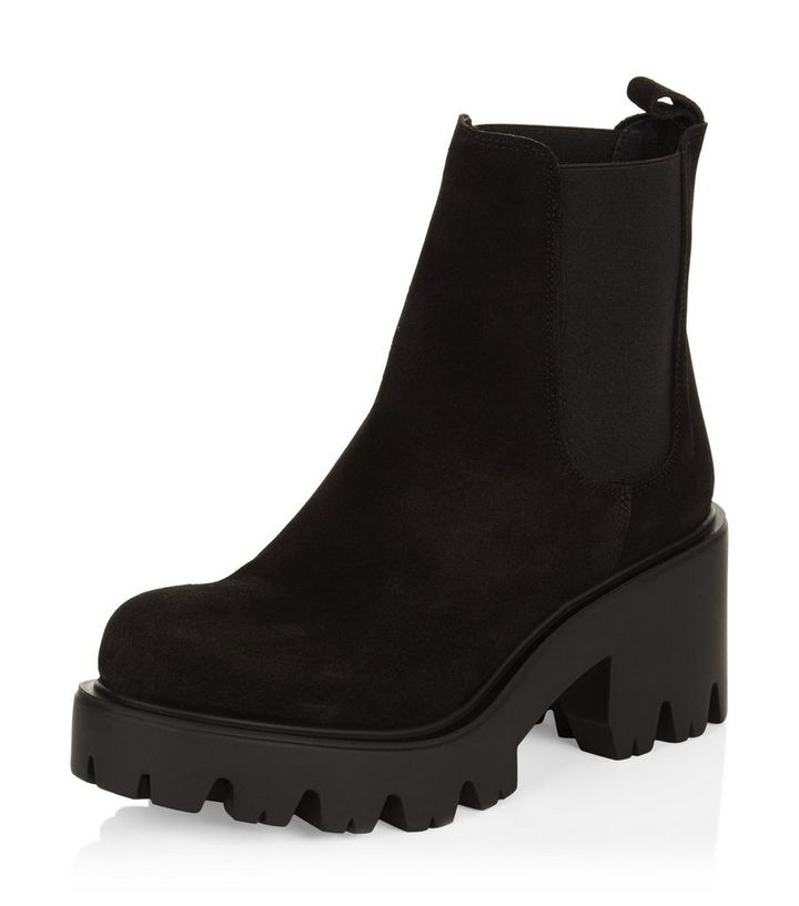 fe03da54364 Black Premium Suede Chunky Cleated Chelsea Boots Add to Saved Items Remove  from Saved Items