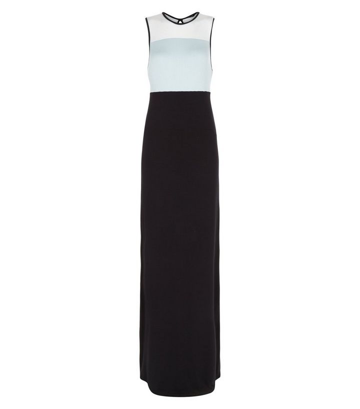 2a89707b2eb9 Black Colour Block Maxi Dress