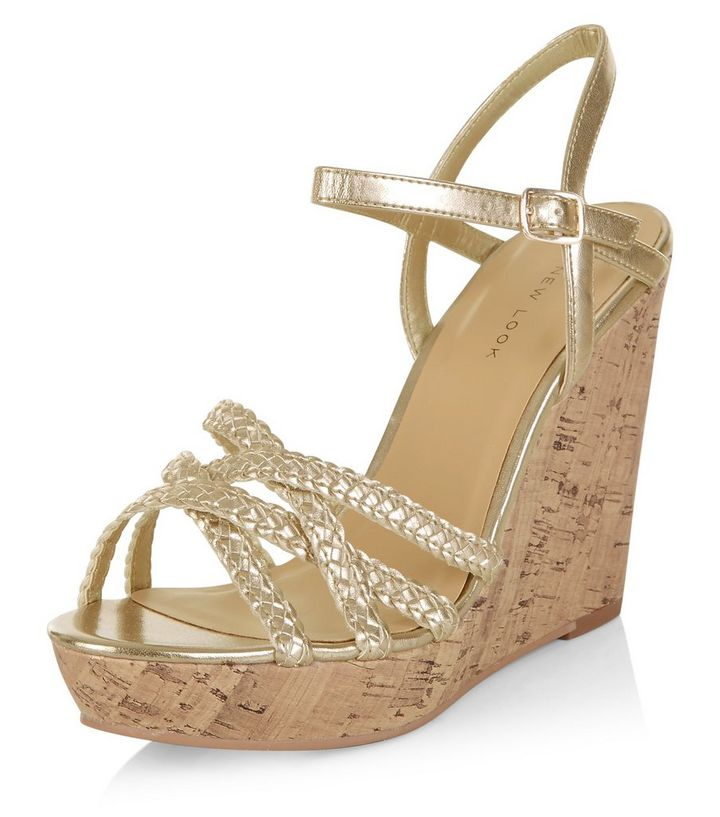 fresh styles new design new york Gold Textured Cross Strap Wedge Sandals Add to Saved Items Remove from  Saved Items