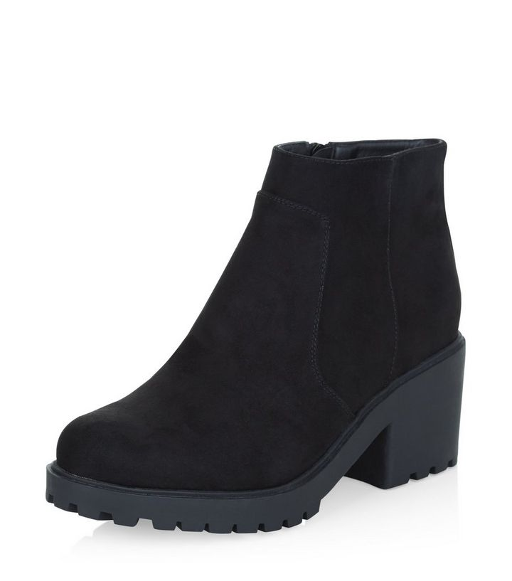 14091e3ecd6a Teens Black Suedette Chunky Ankle Boots
