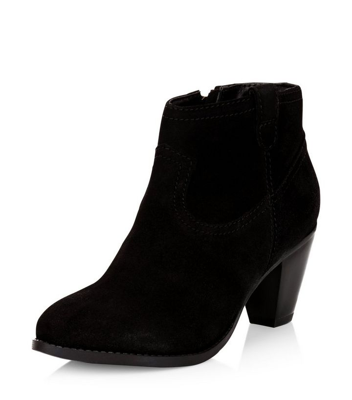 65f0b5e0367 Black Leather Western Block Heel Ankle Boots Add to Saved Items Remove from  Saved Items