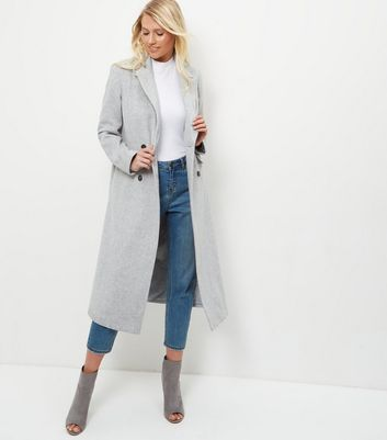 Grey Button Front Longline Coat Add to Saved Items Remove from Saved Items