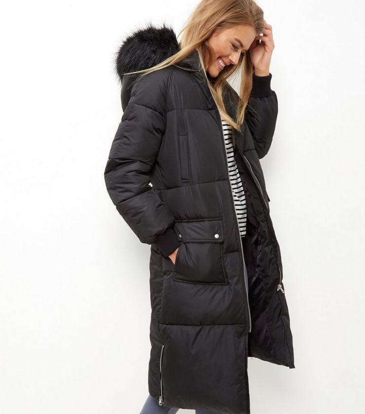 14bb37170158 Black Faux Fur Trim Padded Longline Puffer Coat | New Look