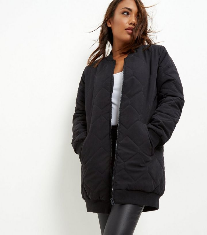 a30287fb3 JDY Black Quilted Longline Bomber Coat Add to Saved Items Remove from Saved  Items