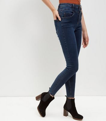 Marineblaue Skinny-Jeans mit hoher Taille