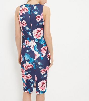 AX Paris Navy Floral Print V Neck Midi Dress New Look