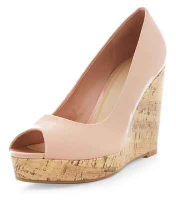 Nude Patent Peep Toe Wedge Sandals