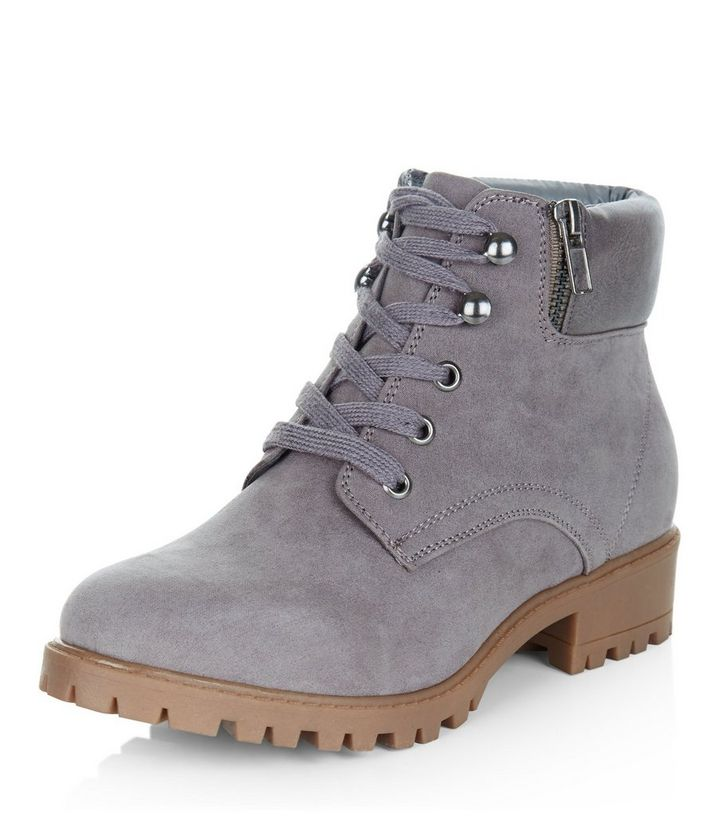 9803622e34664 Teens Grey Lace Up Ankle Boots | New Look
