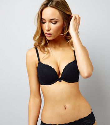 Black Lace Push Up Bra New Look