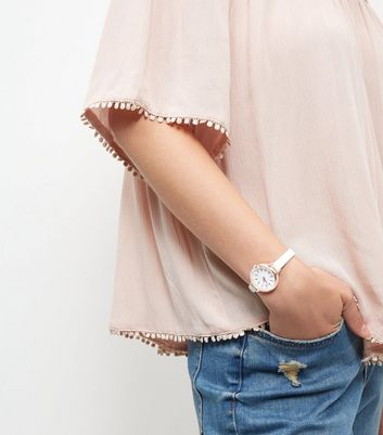 White Rose Gold Trim Watch New Look