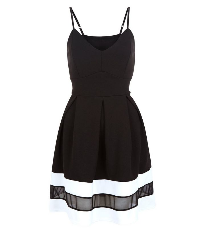 Cameo Rose Black Mesh Panel Strappy Skater Dress  b972893f4