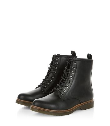 Black Lace Up Ankle Boots | New Look
