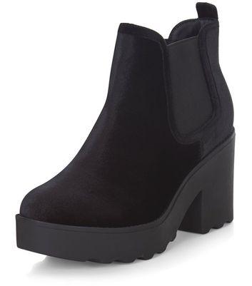 Black Velvet Chunky Chelsea Boots | New