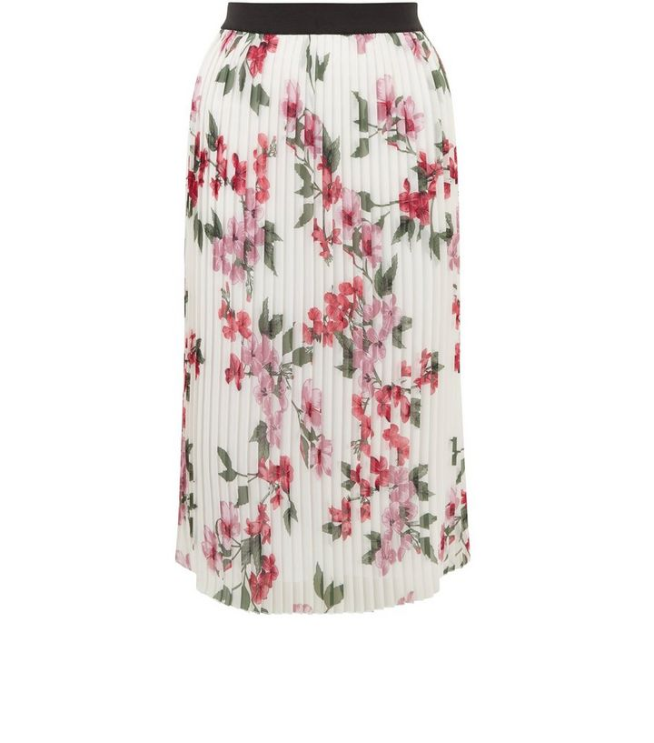 3c91a13ba White Floral Print Pleated Midi Skirt | New Look