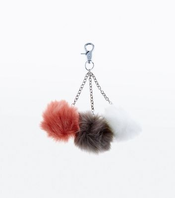 Red Brown and White Faux Fur Pom Pom Keyring New Look