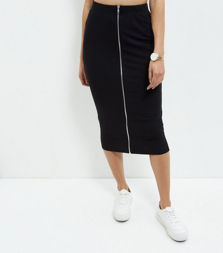 f2cfa7a732 ... Black Ribbed Zip Front Midi Skirt. ×. ×. ×. Shop the look
