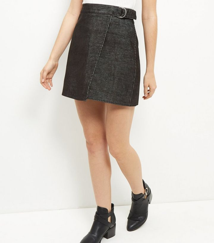841ab41091 Black Cord Wrap Front Mini Skirt | New Look