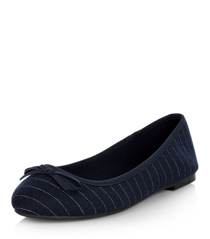 74a428fdc4e Wide Fit Navy Stripe Ballet Pumps