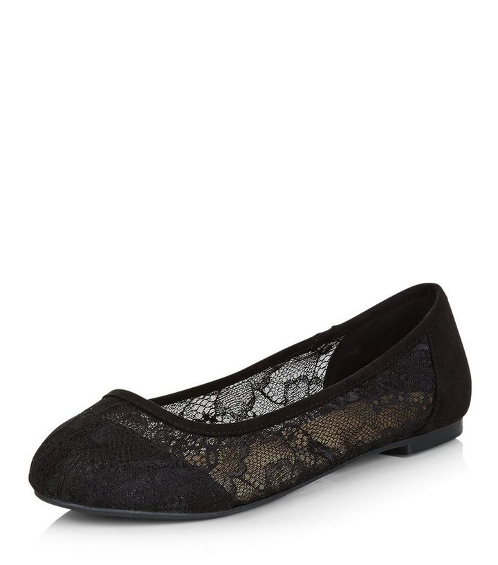 f44d22ed9ac Wide Fit Black Lace Ballet Pumps Add to Saved Items Remove from Saved Items