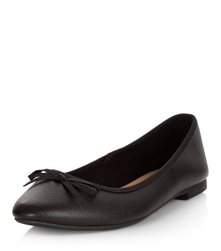941f4a81b Wide Fit Black Square Toe Ballet Pumps | New Look